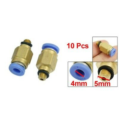 10X(10 Pcs 5mm Male Thread 4mm Push in Joint Air Pneumatic Connector Quick Fitti