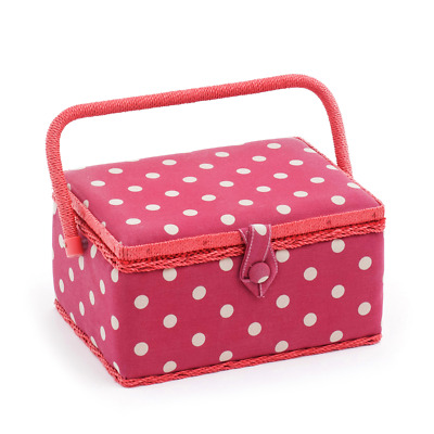 Hobby Gift Medium Sewing Basket - Red With Beige Polka Dots 18.5 x 26 x 15cm