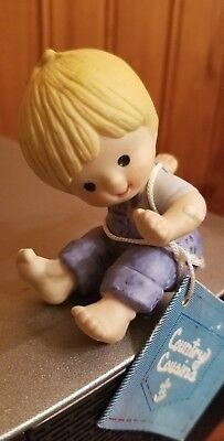 1980 Enesco~Country Cousins ~Little Scooter in overall figurine-EUC