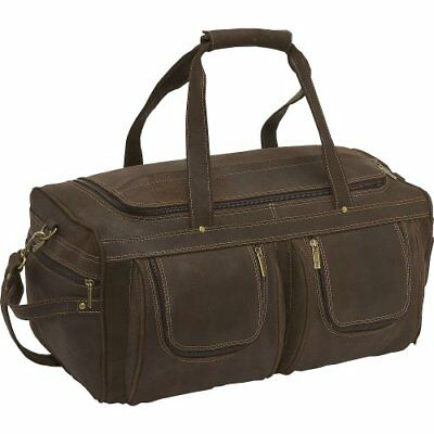 LeDonne Distressed Leather Duffel Bag, Choc, New