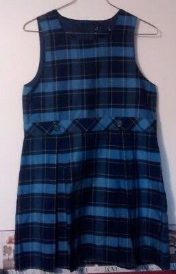 LANDS END Girls Size 16 Classic Navy Plaid Jumper Dress School Uniform blue