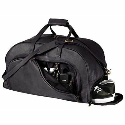 Royce Leather Organizer Duffel Bag with Shoe Compartment, Black, New