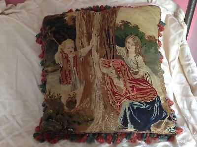 """Large Victorian Petitpoint & Needlepoint Pillow 3 Children Playing 26"""" By 26"""""""