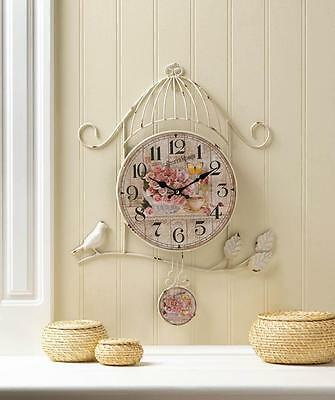 French Country Shabby Chic Style Clock Birdcage Country Rose Wall Hanging Decor