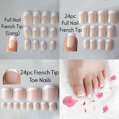 24pcs Natural French False Toe Full Nail Tip Nail Art Accessory Long Manicure
