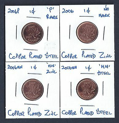 2006 Canada Complete 4-Penny Set Each Graded as Brilliant Uncirculated