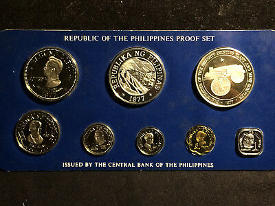 Philippines 1977 Proof Set, 8 Coins, 2 silver. Franklin Mint