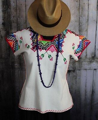 Michoacan Blouse Hand Embroidered & Woven Mexico Frida Kahlo Hippie Style Boho