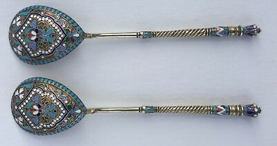 A Pair Of Antique Russian Imperial Cloisonné Enamel And Silver Large Spoons