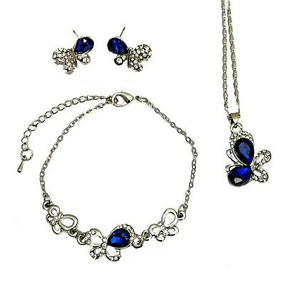 Silver Plated Royal Blue Crystal Butterfly Necklace Bracelet And Earrings Set