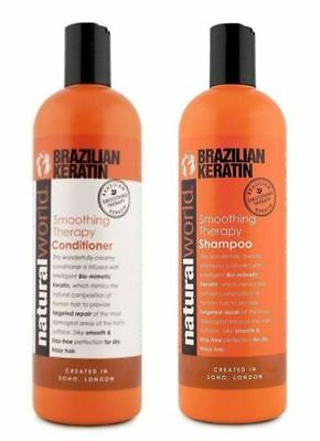 Natural World Brazilian Keratin Smoothing Therapy Shampoo/Conditioner 500ml