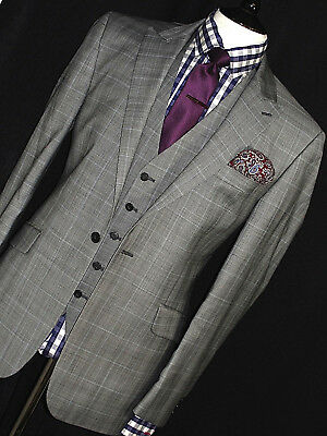 Brand New Mens Gieves & Hawkes Savile Row Bespoke 3 Piece Suit 40R W34 X L32