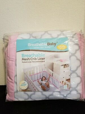 BreathableBaby Breathable Baby Mesh Crib Liner Pink White Gray Clover Brand New