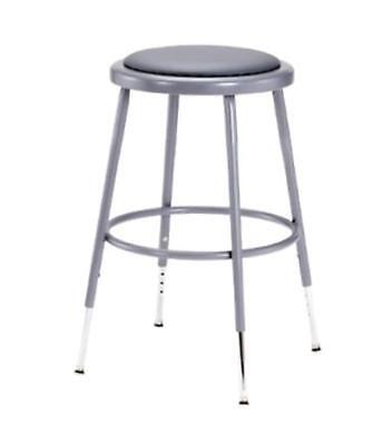 National Public Seating 6418H  Grey Steel Stool with Vinyl Upholstered Seat Adj