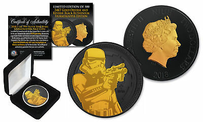 2018 NIUE 1oz Silver Coin STORMTROOPER Star Wars w/ BLACK RUTHENIUM & 24KT Gold