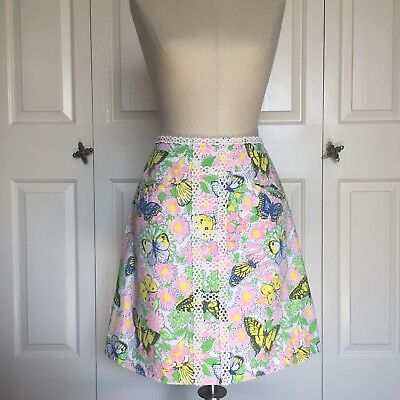 Vintage The Lilly By Lilly Pulitzer 70s Mod Butterfly Skirt, sz 10. Lace, Gogo