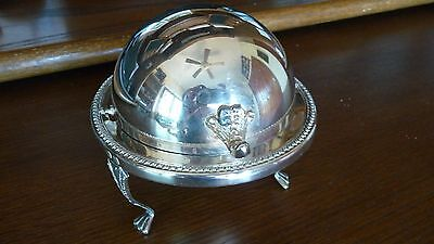 Fabulous Vintage Crystal Butter Dome Dish-B Rogers Silver Co 172; c1883