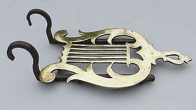 Antique Brass & Iron Fireplace / Range Hanging Trivet - Lyre Shape