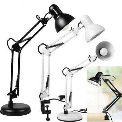 Super Bright Desk Lamp Swing Arm, Extra LED Bulb & Clamp Metal Home Office Light