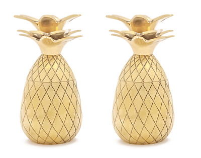NEW IN BOX - Set of Two Heavy Brass Pineapple Shot Glasses – FREE FAST SHIPPING