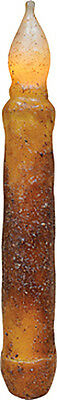"LED Battery NON-TIMER Taper Flicker Candle - Grungy Burnt Cinnamon - 6"" - 6.5"""