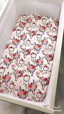 Boho Floral Skulls And Dreamcatchers Bassinet Fitted Sheet