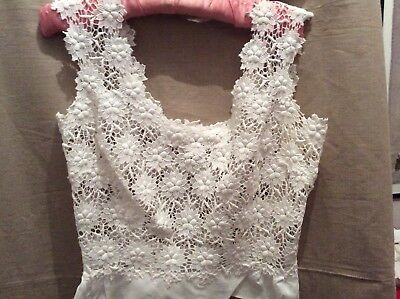 Vintage French Sleeveless Lace Top.