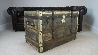 Rare Zinc Brass Bound Antique Steamer Trunk Tropical Travels