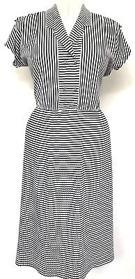 Vintage 1990s Black & White Striped Gold Buttons Shoulder Tabs Pleated Dress 12