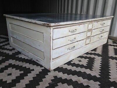 Plan Chest Coffee Table Architects Drawers Industrial