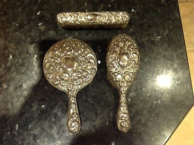 Antique hair brush, mirror and clothes brush set EPNS