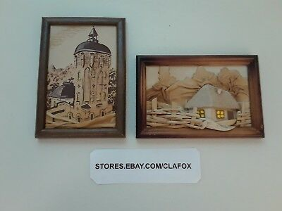 Leather Pictures In Frames Includes 2 Each Small Raised Leather Art
