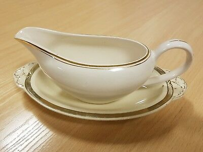 J & G Meakin Gravy Boat And Saucer Cream GOLD GILT