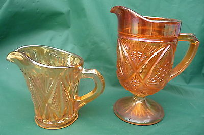2 Vintage Marigold Carnival Glass Milk Cream Jugs  Collectable Excellent