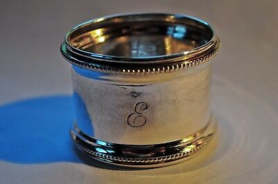 Sterling Silver Art Deco Napkin Ring Engraved E - G F Westwood & Sons 1919.