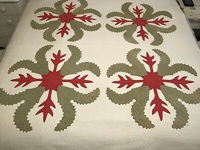 Stunning Antique Red And Green Appliqued Princess Feather Quilt