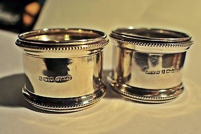 Pair Of Sterling Silver Art Deco Napkin Rings - G F Westwood & Sons 1919.