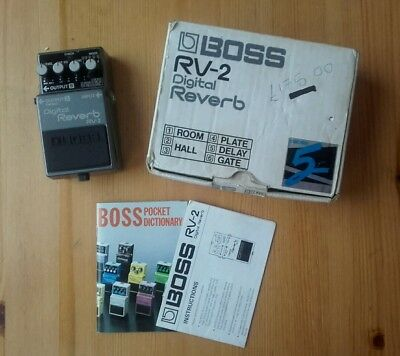 Boss RV2 Japan 1987 Digital Reverb guitar pedal Vintage MIJ & PSA power adaptor