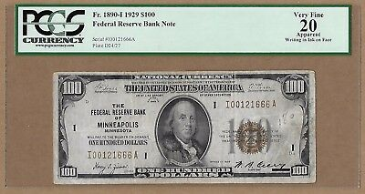1929 $100 Federal Reserve Bank Note! Minneapolis, MN! Fr 1890-I. VF-20