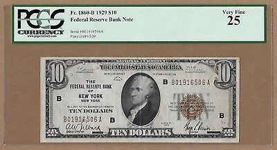 1929 $10 Federal Reserve Bank Note! New York, NY! Fr 1860-B. VF-25