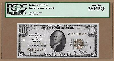 1929 $10 Federal Reserve Bank Note! Kansas City, MO! Fr 1860-J! VF-25PPQ