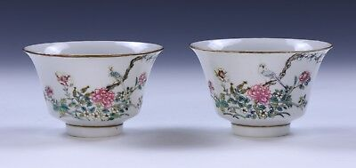 Pair Chinese Antique Famille Rose Porcelain Teacups