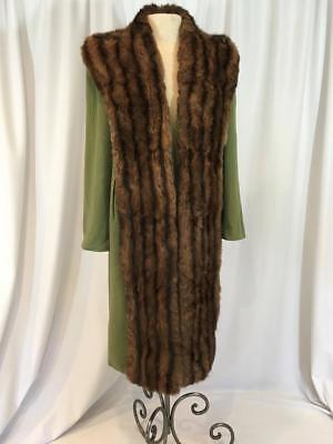 Olive Green 1950's Wool Coat with Dramatic Fur Collar and Frontispiece, Size Med