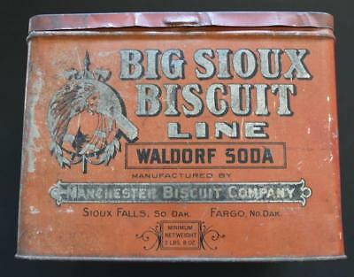 Vintage Big Sioux Biscuit Line Soda Cracker Tin Box ~ Manchester Biscuit Company