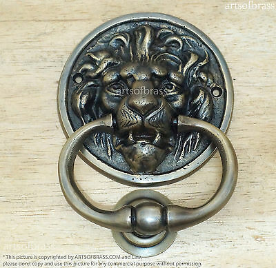 "5.70"" Vintage Solid Brass LION King Head Front Door KNOCKER with Door Protector"