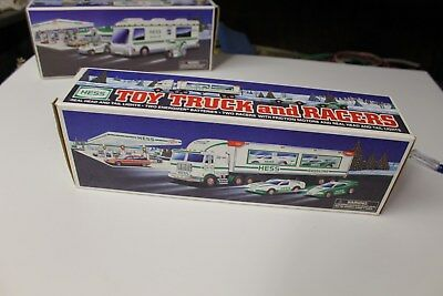 1997 HESS Toy Truck w/ Racers New In Box / MINT