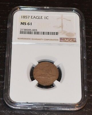 1857 1C Flying Eagle Cent Graded by NGC as MS 61