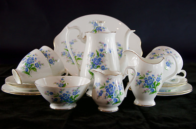 1950s Royal Albert 17 piece Coffee/Tea Set in the cheery 'Forget-Me-Not' pattern