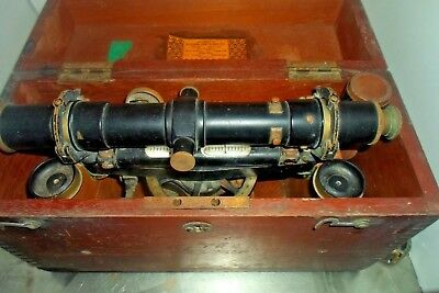 Antique Dietzgen Brass and Steel  Surveyor Level in wood case with attachments