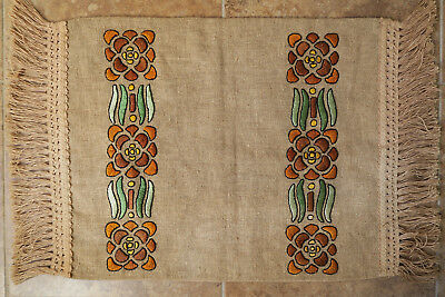 Antique Arts Crafts Mission Stickley Era Oatmeal Linen Embroidered Runner Pillow
